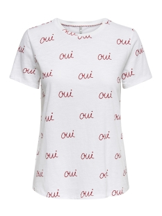 Only T-shirt onlBONE REG S/S LOVE BOX CO/SL JRS 15173709 Bright White/QUI(MARS
