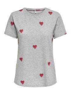 onlbone reg s/s love box co/sl jrs 15173709 only t-shirt light grey mela/hearts(ma