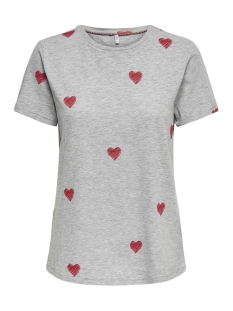 Only T-shirt onlBONE REG S/S LOVE BOX CO/SL JRS 15173709 Light Grey Mela/HEARTS(MA