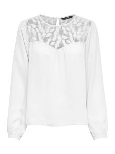 Only T-shirt onlATA L/S LACE TOP WVN 15171846 Cloud Dancer