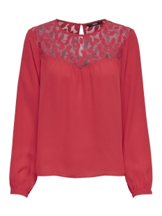 Only T-shirt onlATA L/S LACE TOP WVN 15171846 Flame Scarlet