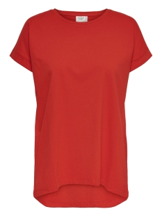 Jacqueline de Yong T-shirt JDYLOUISA S/S FOLD UP TOP JRS NOOS 15157925 Fiery Red