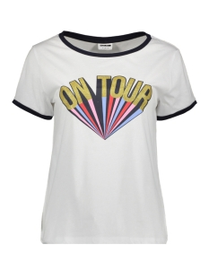 Noisy may T-shirt NMALBERT PRINT S/S TOP X3 27007306 Bright White/ ON TOUR