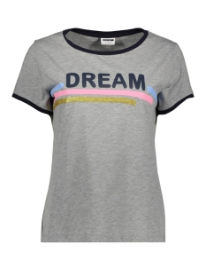 Noisy may T-shirt NMALBERT PRINT S/S TOP X3 27007306 Light Grey Mela/ DREAM