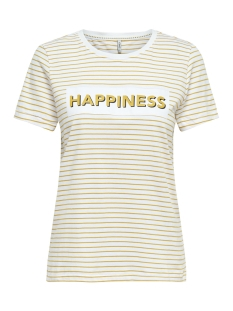 Only T-shirt onlDOTTI REG S/S PRINT BOX CO JRS 15173734 Bright White/HAPPINESS1