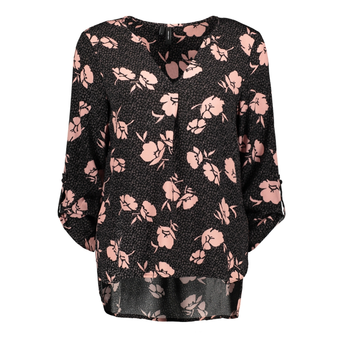 vmamy sabby 7/8 fold-up top vip 10218110 vero moda blouse black/amy