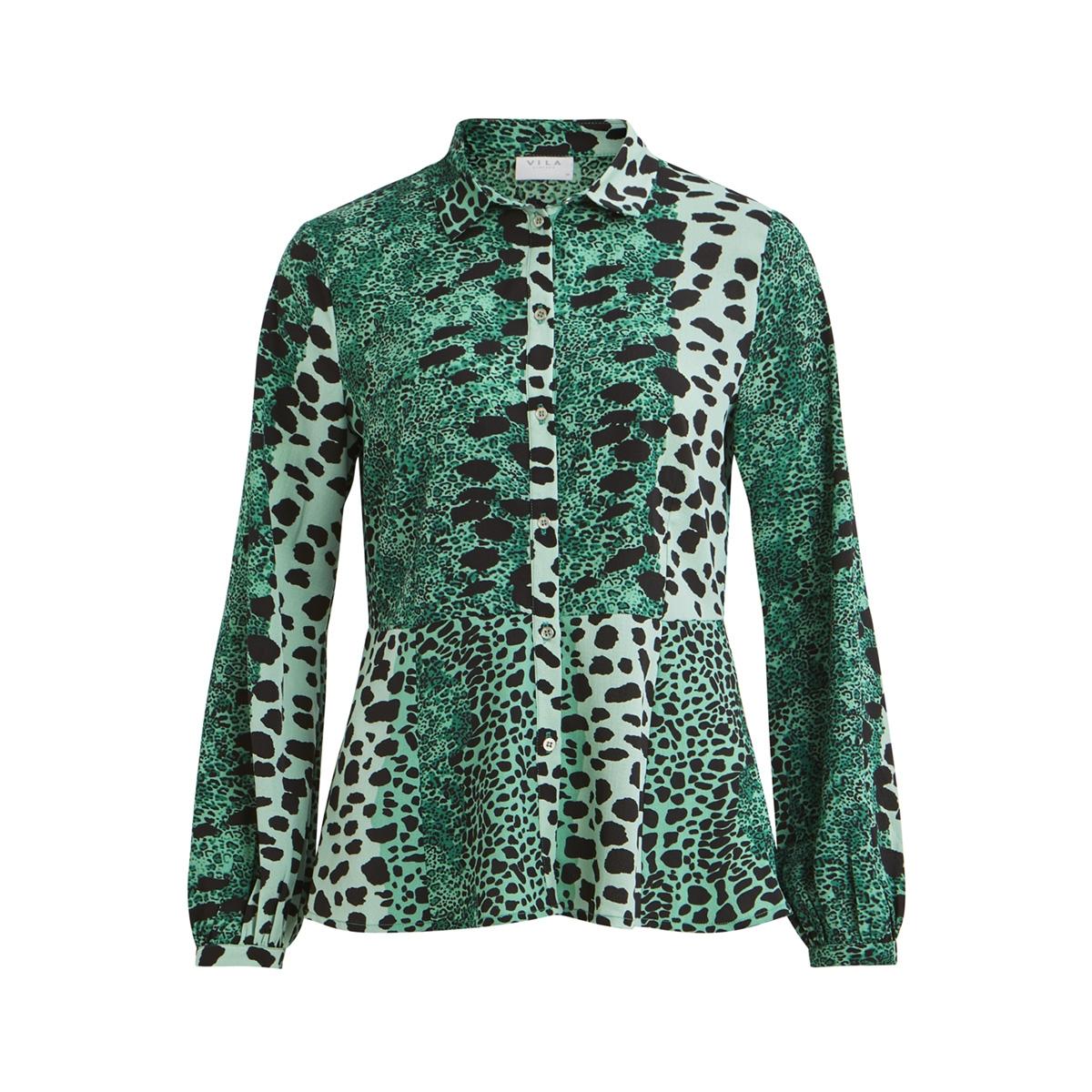 vileomi l/s shirt /rx 14053971 vila blouse pepper green/leo