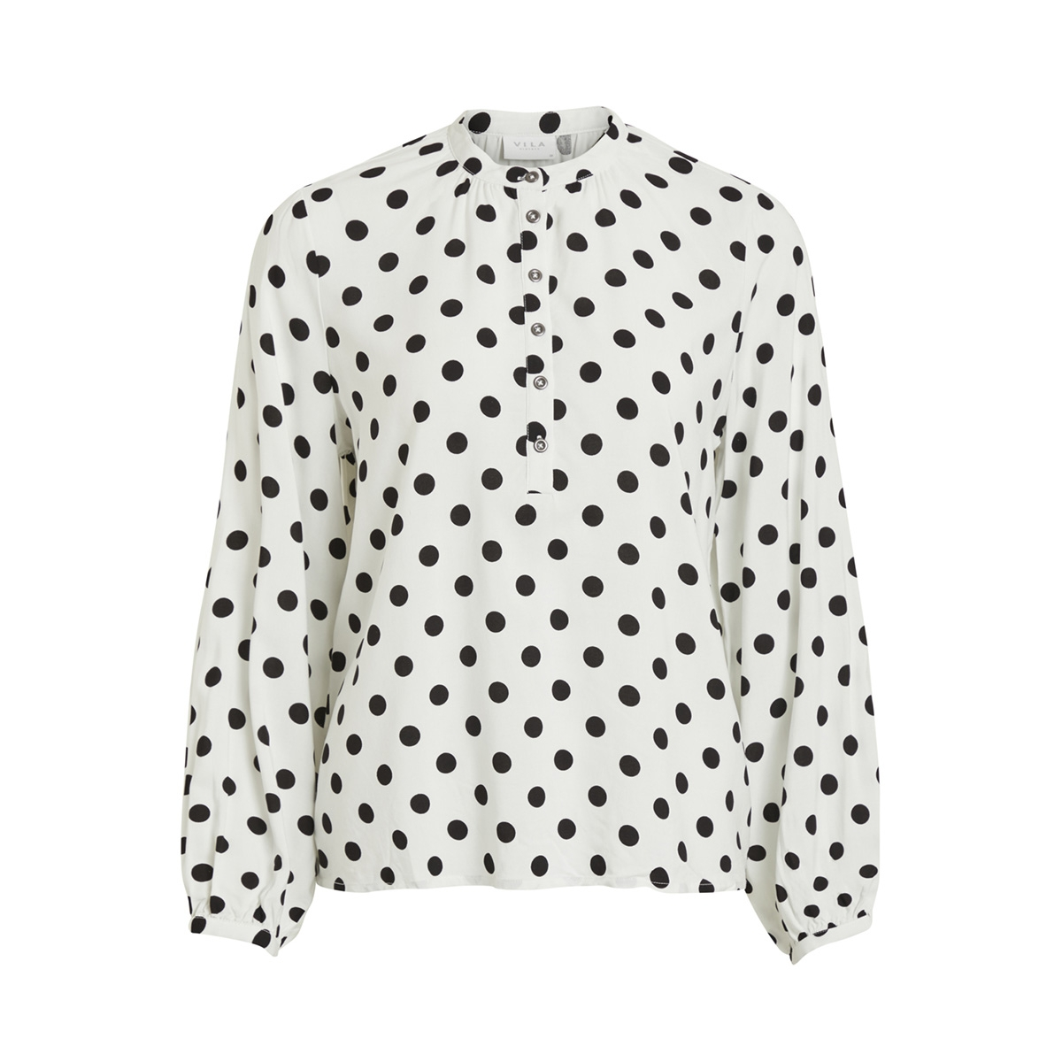 vidotla l/s top 14052802 vila blouse cloud dancer/black dots