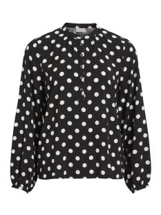 vidotla l/s top 14052802 vila blouse black/cloud dancer dots