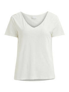 Vila T-shirt VINOEL S/S V-NECK T-SHIRT-NOOS 14047596 Cloud Dancer