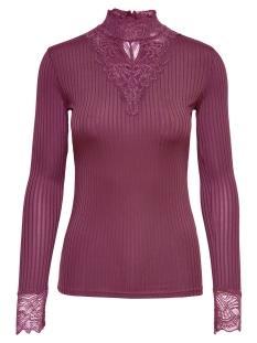 jdyrine l/s high neck top jrs noos 15166244 jacqueline de yong t-shirt vivid viola/ dtm lace a