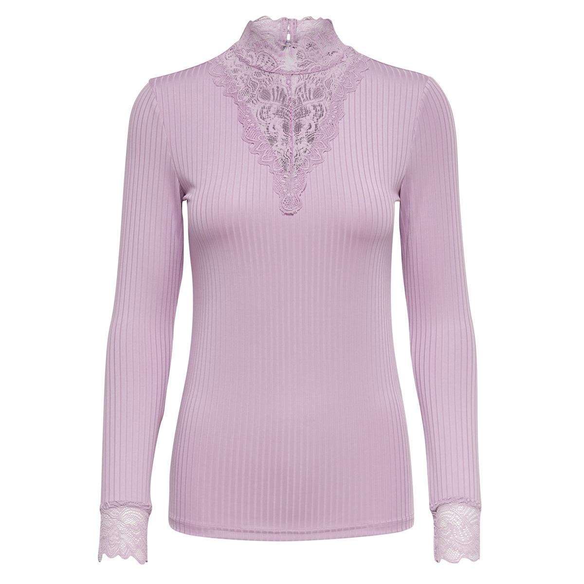 jdyrine l/s high neck top jrs noos 15166244 jacqueline de yong t-shirt mauve mist/ dtm lace a