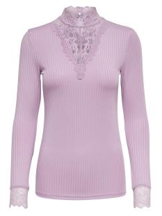 Jacqueline de Yong T-shirt JDYRINE L/S HIGH NECK TOP JRS NOOS 15166244 Mauve Mist/ DTM LACE A