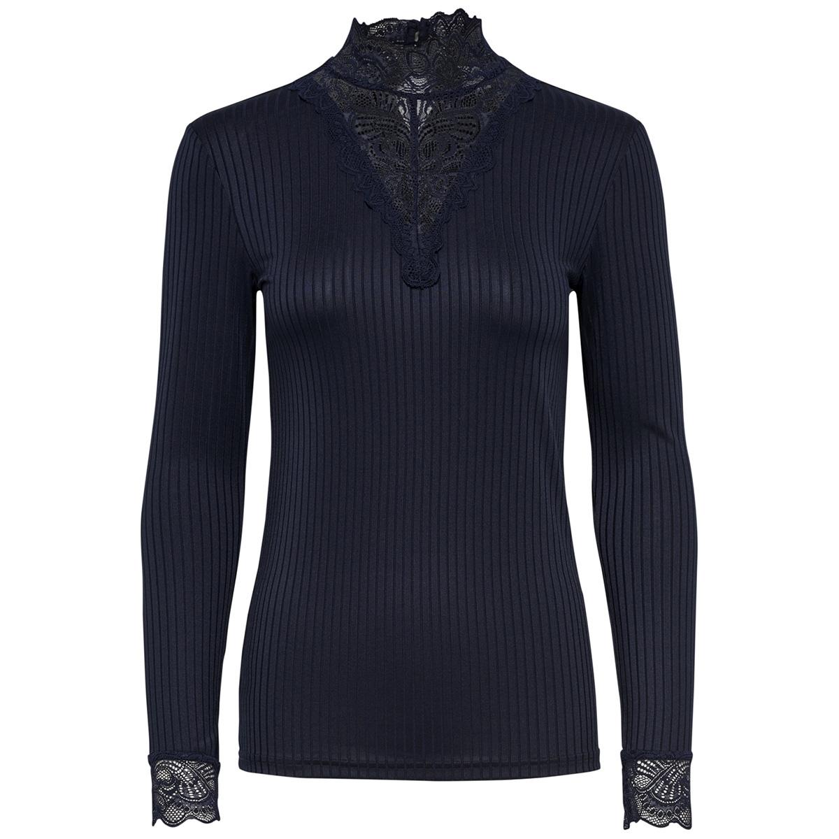 jdyrine l/s high neck top jrs noos 15166244 jacqueline de yong t-shirt sky captain/dtm lace a