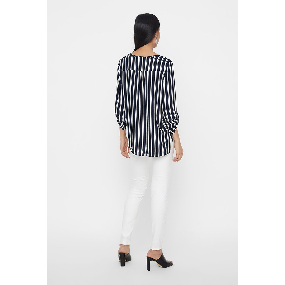 vmsasha 3/4 top color 10215422 vero moda blouse navy blazer/snow white