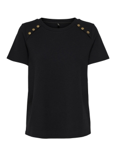 Only T-shirt onlNADIA S/S BUTTON TOP JRS 15173700 Black