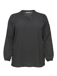 Only Carmakoma T-shirt CARLUXCECILIA LS TOP AOP 1 15172706 Black/CLOUD DANCER/DOTS