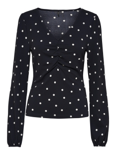 Only T-shirt onlMONA L/S V-NECK TOP JRS 15173176 Night Sky/ WHITE DOT