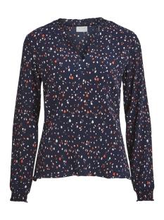 viatla blooming l/s top 14050482 vila blouse navy blazer/2nd combo