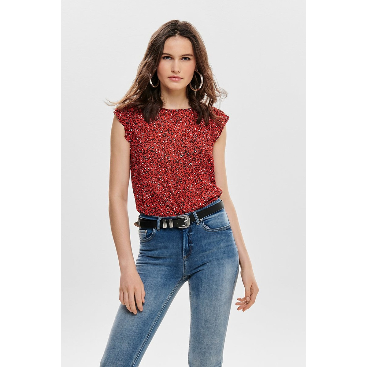 onlstar s/l chiffon top wvn 15173854 only top flame scarlet/star leo