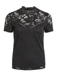 Vila T-shirt VISTASIA S/S LACE TOP - NOOS 14049852 Black