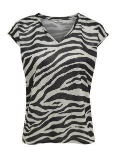 Only T-shirt onlSILVERY AOP S/S V NECK LUREX TOP 15176145 Silver/ZEBRA PRINT