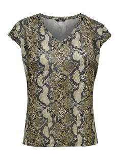 Only T-shirt onlSILVERY AOP S/S V NECK LUREX TOP 15176145 Warm Sand/SNAKE PRINT