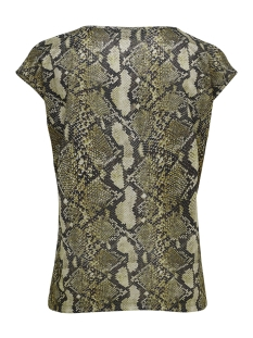 onlsilvery aop s/s v neck lurex top 15176145 only t-shirt warm sand/snake print