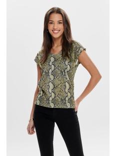 onlsilvery aop s/s v neck lurex top 15176145 only t-shirt warm sand/snake print