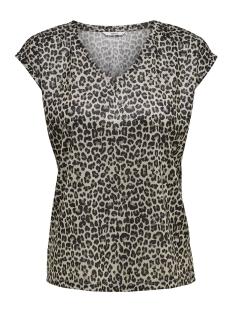 Only T-shirt onlSILVERY AOP S/S V NECK LUREX TOP  15176145 Gold Colour/LEOPARD