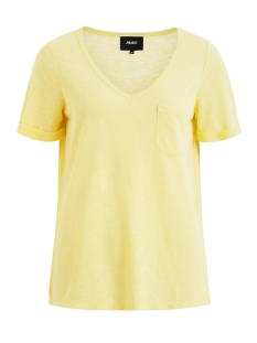 objtessi slub s/s v-neck seasonal 23026968 object t-shirt maize