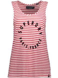 Superdry Top G60108MT COAST STRIPE GRAPHIC NAUTICAL RED WHITE STRIPE