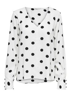 Only Blouse onlUMA LS TOP WVN 15172714 Bright White/BLACK DOTS