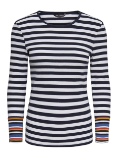 Only Trui onyBELLA RIB L/S MULTI STRIPE TOP J 15171305 Bright White/NIGHT SKY