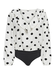 Only T-shirt onlUMA LS BODY WVN 15172644 Bright White/BLACK DOTS