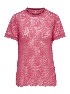 onlgwen s/s lace top jrs 15173156 only t-shirt geranium/rib gerani
