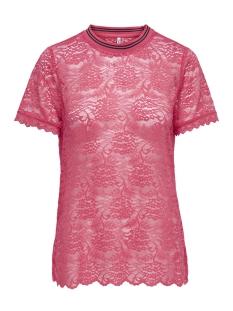 Only T-shirt onlGWEN S/S LACE TOP JRS 15173156 Geranium/RIB GERANI