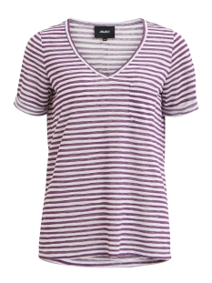Object T-shirt OBJTESSI SLUB S/S V-NECK SEASONAL 23026968 Wood Violet/W. WHITE S