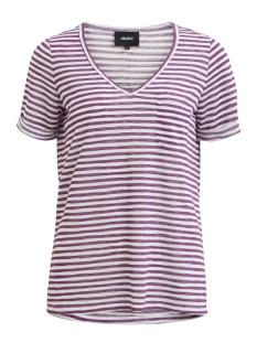 objtessi slub s/s v-neck seasonal 23026968 object t-shirt wood violet/w. white s