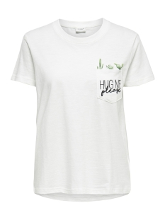 Jacqueline de Yong T-shirt JDYKID S/S POCKET EMB TOP JRS 15174101 Cloud Dancer/HUG ME CACTUS