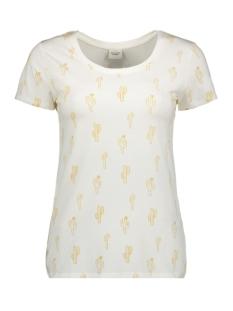 Jacqueline de Yong T-shirt JDYWAYNE S/S AOP TOP JRS 15174164 Cloud Dancer/TAWNY OLIVE