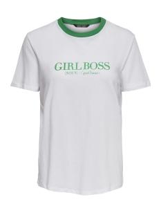 Only T-shirt ONYCHARLIE DAY S/S RIB PRINT TOP JR 15169346 Bright White/GIRL BOSS