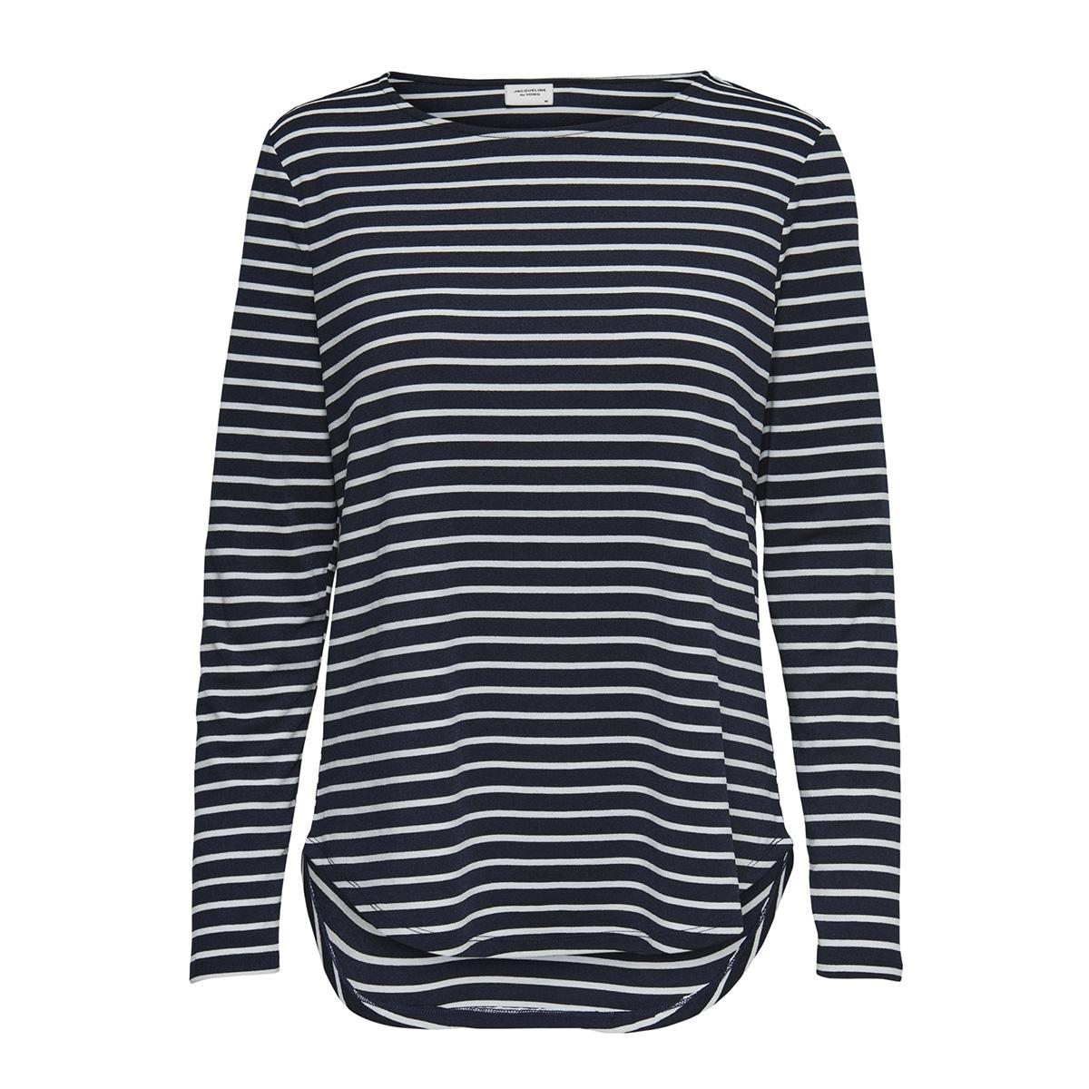 jdynola l/s  striped  top jrs 15170915 jacqueline de yong t-shirt sky captain/cloud dancer