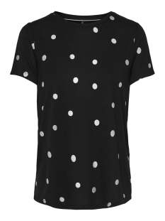Only T-shirt ONLISABELLA S/S FOIL AOP TOP NOOS 15153052 Black/DOTS