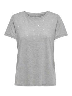 Only T-shirt ONLISABELLA S/S FOIL AOP TOP NOOS 15153052 Light Grey Mela/HEARTS