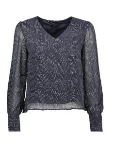 vmdotty ls top wvn 10211816 vero moda blouse night sky/snow white