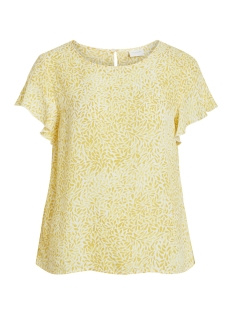 Vila T-shirt VILUCY S/S FLOUNCE TOP - FAV LUX 14049944 Goldfinch/IBERIS