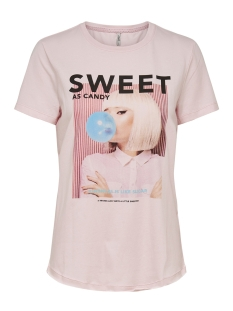 Only T-shirt ONLINDRE REG S/S PRINT BOX CO JRS 15179331 Blushing Bride/SWEET