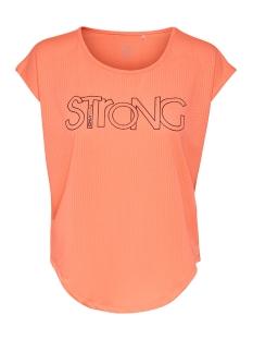 Only Play Sport shirt ONPMATHILDA CURVED SS TRAINING TEE 15166295 Neon Orange/W. BLACK