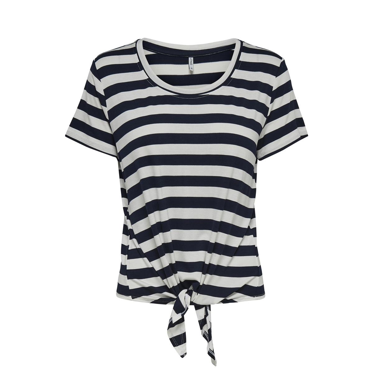 nlarli s/s knot top jrs noos 15178088 only t-shirt cloud dancer/night sky